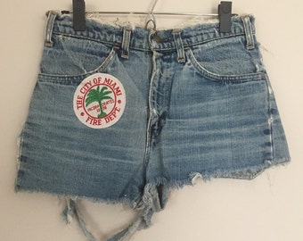 Shredded and Patched Vintage Levis Jean Shorts