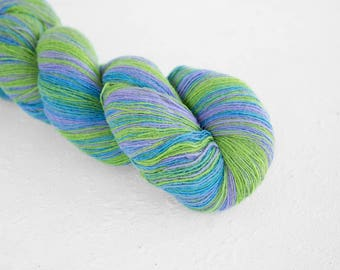 Artistic wool, laceweight art wool blue green purple colors, Longstriped artistic wool. Aade Long - Lilac