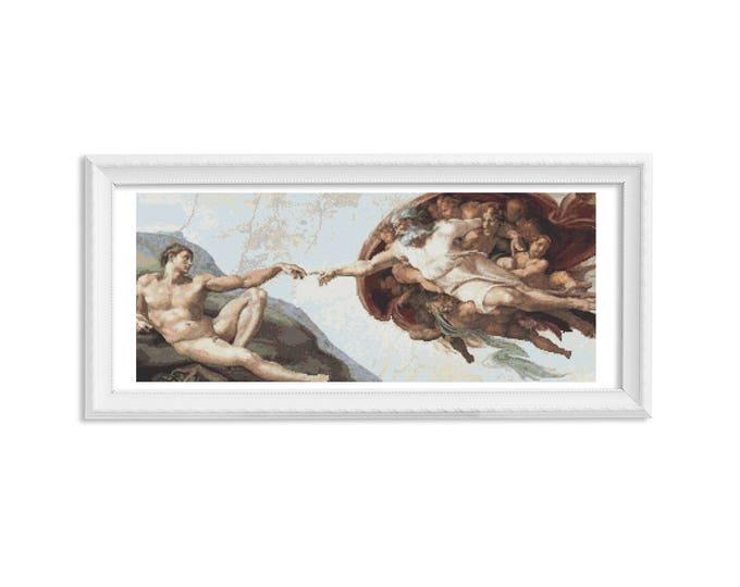 Cross Stitch Pattern PDF, Embroidery Chart, Art Cross Stitch, The Creation of Adam by Michelangelo (MICHE01)
