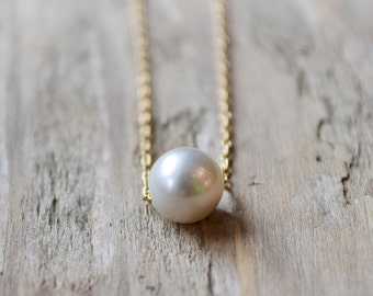 single pearl necklace /// genuine freshwater grey pearl /// wedding pearl necklace - bridal jewelry
