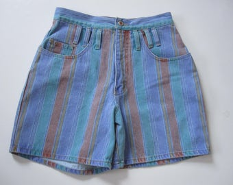 Vintage High Waisted Striped Squeeze Denim