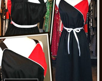 Vintage Black Red White Cotton Dress FREE SHIPPING