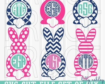Monogram SVG Files Set of 6 cutting files SVG/PNG/jpg formats Commercial use ok! {monograms not included} easter svg bunny svg bunny ears
