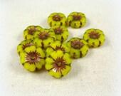 Czech Beads, Czech Glass Flower Beads, Hibiscus Flower - Fluorescent Yellow with Bronze Picasso (FL12/RJ-0743) - 12mm - Qty. 6