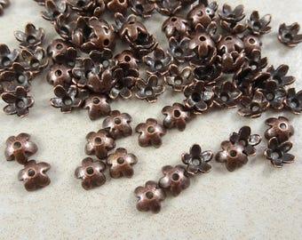 Bead Cap - Tibetan Style, Antiqued Copper Flower Bead Cap (1225Y-AC) - 6.5mm - Qty 100 pcs.