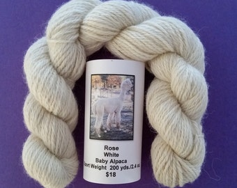 White Baby Alpaca Yarn  Sport Weight 200 yds./2.4 oz.