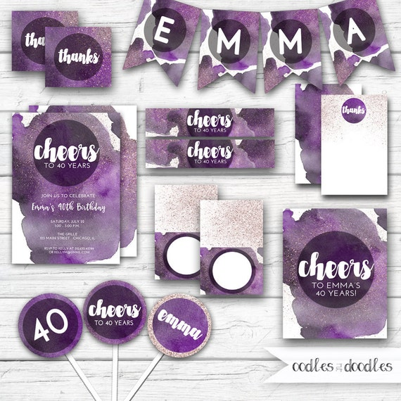 Cheers to 40 Years Birthday Party Package Purple Watercolor 40th