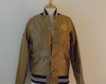 Satin Bronze 'Butwin' Bomber Jacket Correctional Peace Officers Foundation Coat / Men's Extra Small / Women's Small to Medium
