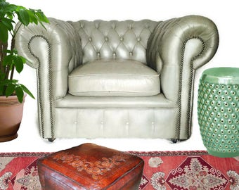 Vintage Leather Club Chair Chesterfield Chair Tufted Arm Chair Dove Grey Leather Worn In Lounge Chair Iconic Classic Regency Club Chair