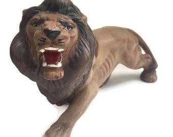Mid Century Lion Statue Fierce African Lion Sculpture Ceramic All Original Vintage Lion Figurine LEO Horoscope Sign Bookcase Display Art