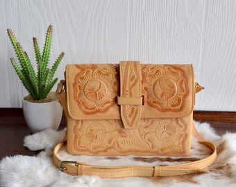 Cream Colored Tooled Leather Mexican Purse