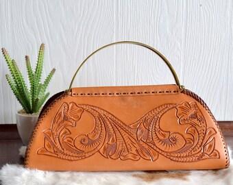 Classy Tooled Leather Boho Handbag