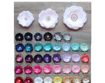 Satin Flower, CHOOSE: Color, Size and Headband or Clip,