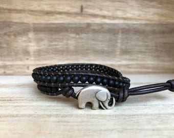 Black ELEPHANT Double Wrap Bracelet