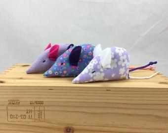 3 floral catnip mice, Catnip Cat Toys: