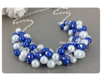 Royal Blue and White Cluster Necklace, Pearl Cluster Necklace, Bridesmaid Jewelry, Bridesmaid Gift, Royal Blue Jewelry