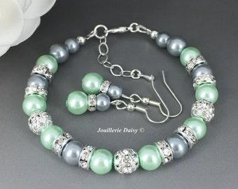 Mint Green Wedding Mint and Grey Bracelet Gray Bracelet Bridesmaid Jewelry Mint Bridesmaid Gift Jewelry Gift for Her Mint to be Wedding