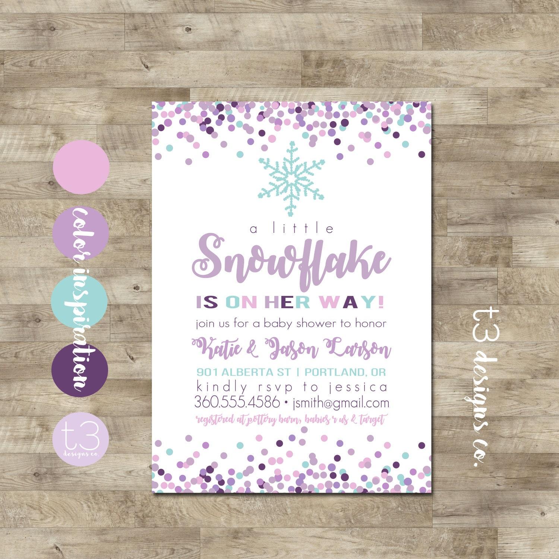 Girl Snowflake Baby Shower Invitation, Winter Baby Shower Invitation,  Snowflake Invitation,purple Winter Baby Shower, Winter Wonderland Baby