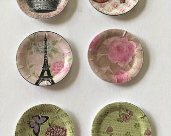 "Dollhouse Miniature Pink Parisian Motiff  1"" Paper Plates"