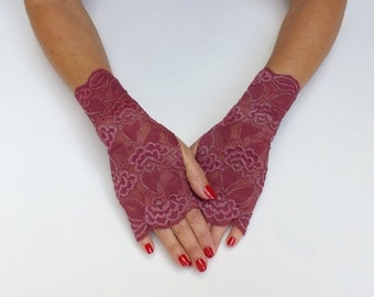 Elastic floral lace gloves. Burgundy/ Ivory/ Black/ Red/ Gold fingerless lace mittens. Wedding gloves.