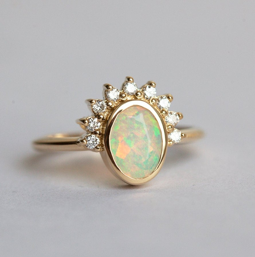 oval opal engagement ring opal and diamonds ring diamond opal ring welo opal - Opal Wedding Ring