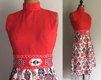 Vintage 1970s Mod Dress / SALE 60s 70s Red White Blue Mad Men Era Abstract Thin Silky Poly Mock Neck Sleeveless Mod Dress - Small