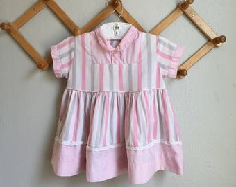 Vintage 50s Baby Dress - 1950s 1960s Infant Baby Girl Candy Stripe Dress Baby Pink White Gray Collar 6 9 12 Months 1 Patricia Ann Cotton