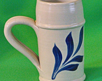 Large Vintage Williamsburg Pottery Ceramic Stein With Cobalt Blue Leaf Design