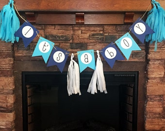 Decorative IT'S A BOY Hanging Pendant & Tassle Banner for Gender Reveal, Baby Shower, Party, Event, High Chair