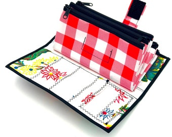 Cute Floral and Red Checkered Envelope System Wallet for Dave Ramsey Cash Budgeting and Extreme Couponing