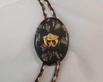 Shriners Emblem and Matte Black Stone Bolo Tie  1699