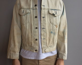Vintage Bleached Roebuck's White Denim Jacket One of a Kind PUNK Style