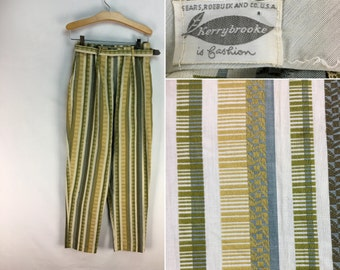 Vintage 60s High-Waist Tapered Leg Slacks // Kerry Brooke // Sears // 1960s // Lime // Womens // Pants // Trousers // Pin-Up // High-Rise