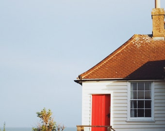 "Cottage by the Sea, Cuckmere Haven, Beach Photo, Beach Decor, Architecture Photography, 8"" x 10"", England UK"