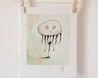 Seaweed Art Print, Cute Monster Illustration, 8x10 Print