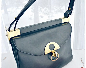 Dark BLUE handbag with BRASS fastener, ADJUSTABLE handle