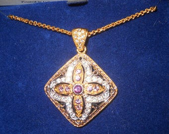Jackie Kennedy GP Pendant Necklace with Crystals - 2 Tone with Box and COA