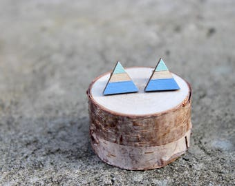 Triangle Wood Earrings // Blue Mint Geometric Earrings // Striped Earrings // Color Block Earrings // Hand Painted Studs // Blue Studs