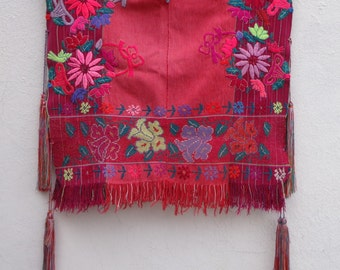 Colorful Hand Embroidered Mexican Handwoven Mayan Cape True Vintage