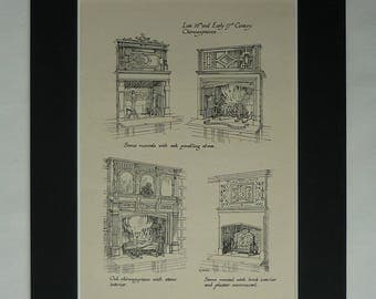 1920s Antique Interior Design Print, 16th & 17th Century Fireplace Available Framed Architect Art Architecture Gift Tudor Home Decor Picture