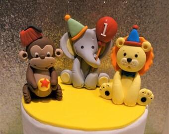 3 Circus  Safari Animal Fondant Cake Topper - Handmade Edible Cake Topper - 3 Pcs
