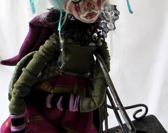 Myra Handmade Decorative Goth Art Doll, OOAK Art Doll, Collectible Doll, Sculpted Clay and Fabric Art Doll