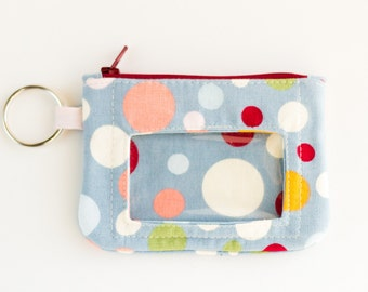 Small Zipper Pouch with ID Window, Coin Purse, Key Wallet, Earbud Case, Blue, Red, Green, and Orange Polka Dot Cotton Fabrics, Handmade