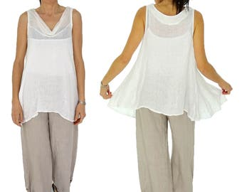 HY200W ladies linen tunic top waterfall collar oversize linen without arm vintage GR 38 40 42 white