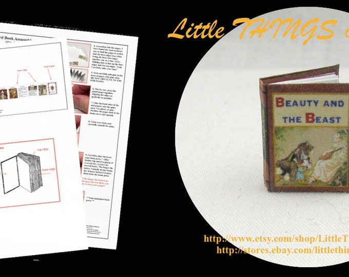 1:12 Miniature Dollhouse Doll BEAUTY And The BEAST Book PDF and Tutorial for Dollhouse Scale Miniature Accessory Prince Princess Disney