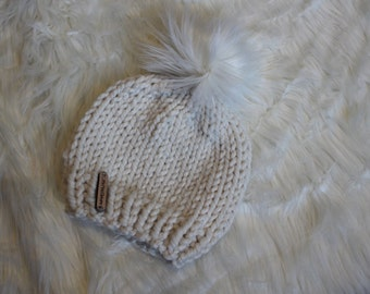 Baby Beanie with Faux Fur Pom - Baby Hat - Fur Pom Pom - Hand Knitted - Made to Order - Winter Hat - Child - Handmade - Chunky