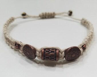 Neutral Macrame Bracelet with Copper Beading