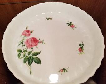 Christineholm Pink Roses Quiche Tart Baking Pan Vintage Porcelain