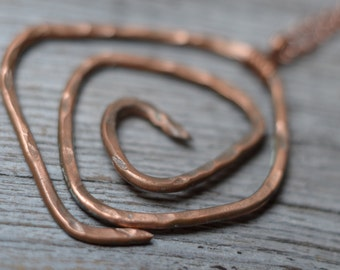 hammered copper necklace spiral pendant copper wire circle necklace boho jewelry
