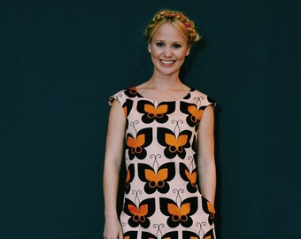 """""""BUTTERFLY"""" in rose orange black A line dress"""